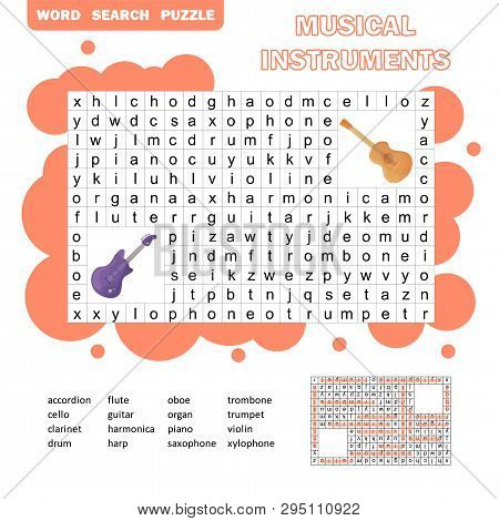 Color Crossword - Search Words Game, Education Game For Children About Music Instruments