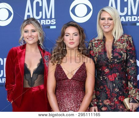LAS VEGAS - APR 7:  Hannah Mullholland, Naomi Cooke, Jennifer Wayne, Runaway June at the 54th Academy of Country Music Awards at the MGM Grand Garden Arena on April 7, 2019 in Las Vegas, NV
