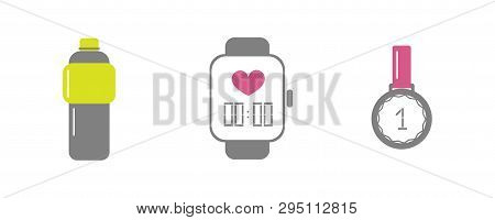 Vector Set Of Running Sport Icons - Bottle Of Isotonic Or Water, Smart Watch, Medal Of Winner - For