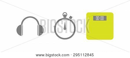 Vector Set Of Running Sport Icons - Wireless Earphones, Sport Timer, Weigh Scale - For Sport Team, R