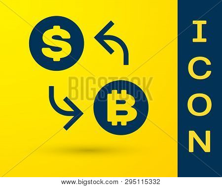 Blue Cryptocurrency Exchange Icon Isolated On Yellow Background. Bitcoin To Dollar Exchange Icon. Cr