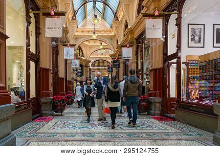 Melbourne, Australia - December 8, 2016: The Block Shopping Arcade, Shopping Centre With People