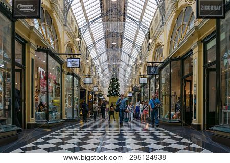 Melbourne, Australia - December 8, 2016: The Block Shopping Arcade, Shopping Centre In Melbourne Bef