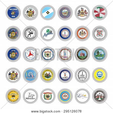 Set Of Vector Icons. Flags And Seals Of Wisconsin, Virginia And West Virginia States, Usa. 3d Illust