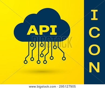 Blue Cloud Api Interface Icon Isolated On Yellow Background. Application Programming Interface Api T