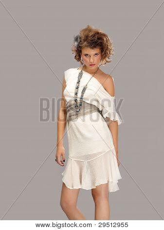 woman in white dress on a background
