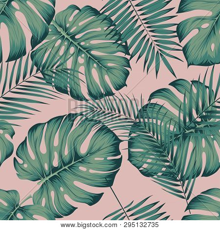 Seamless Tropical Pattern With Leaves Monstera And Areca Palm Leaf On A Pink Background Template For