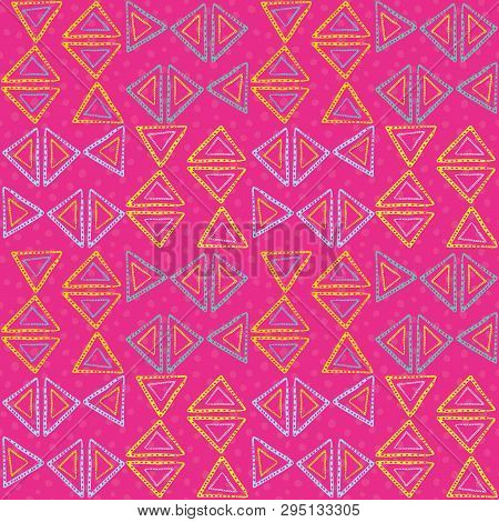 Hand Drawn Funky Neon Blue, Yellow, Pink Triangles With Dot Texture. Vector Tribal Seamless Pattern