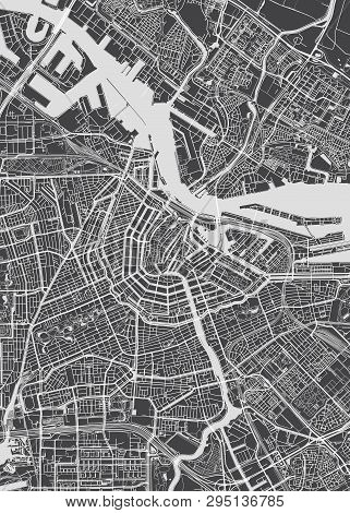 Amsterdam City Plan, Detailed Vector Map Detailed Plan Of The City, Rivers And Streets