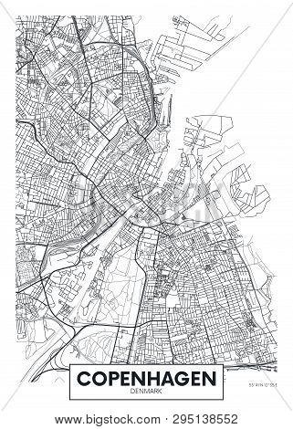 City Map Copenhagen, Travel Vector Poster Design For Interior Decoration