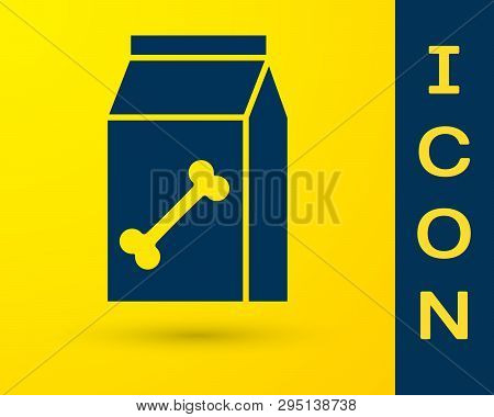 Blue Bag Of Food For Pet Icon Isolated On Yellow Background. Food For Animals. Dog Bone Sign. Pet Fo