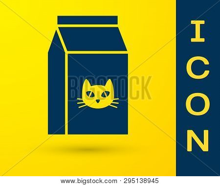 Blue Bag Of Food For Cat Icon Isolated On Yellow Background. Food For Animals. Pet Food Package. Vec