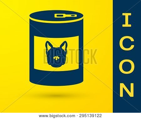 Blue Canned Food For Dog Icon Isolated On Yellow Background. Food For Animals. Pet Dog Food Can. Vec