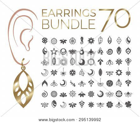 70 Vector Designs Of Earring. Cutout Silhouette With Floral Pattern. Template Is Suitable For Creati