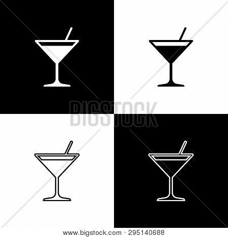 Set Martini Glass Icons Isolated On Black And White Background. Cocktail Icon. Wine Glass Icon. Line