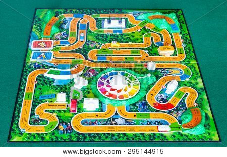 Moscow, Russia - April 3, 2019: Playfield Of The Game Of Life Board Game. This Board Game Was Create