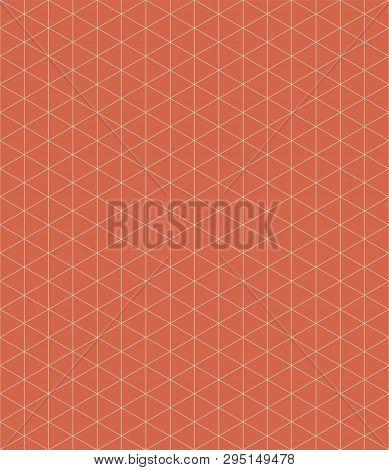 Isometric Grid Design On Tangerine Orange Background. Seamless Vector Pattern With Modern Vibe. Grea