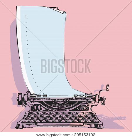 Hand-drawn Vintage Typewriter Mashine With Paper. Sketch Publishing. Vector Illustration Love Concep