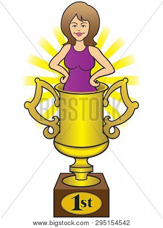 A Young Pretty Wife Is Standing In A Gold Trophy Cup