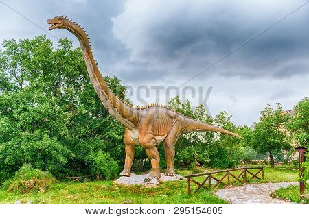 San Marco In Lamis, Italy - June 9: Diplodocus Dinosaur, Featured In The Dino Park In San Marco In L