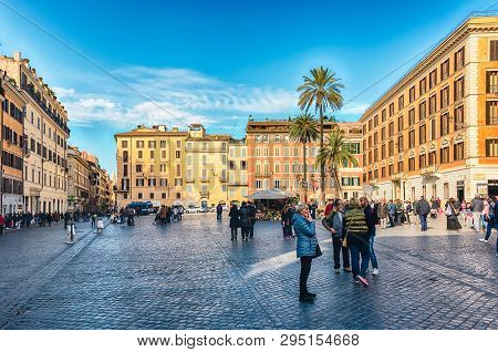 Rome - November 18: View Of Piazza Di Spagna, Iconic Square At The Bottom Of The Spanish Steps In Ro