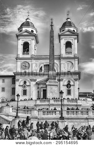 Rome - November 18: Church Of Trinita Dei Monti, Iconic Landmark At The Top Of The Spanish Steps In