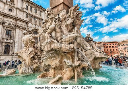 Rome - November 18:  The Beautiful Fountain Of The Four Rivers, Iconic Landmark Designed In 1651 By
