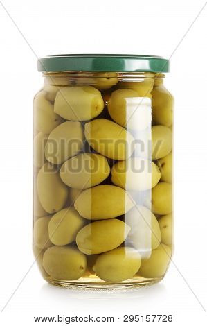 Jar Of Green Olives Isolated On White