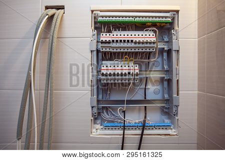 Voltage Switchboard With Circuit Breakers Are  In The On And Of Positions In The Big Electric Box Or