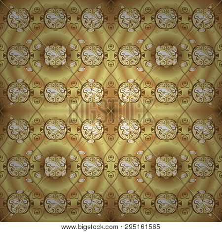 Floral Ornament Brocade Textile Pattern, Glass, Metal With Floral Pattern On Beige And Yellow Colors