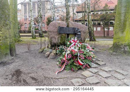 Sopot, Poland - February 25, 2019: Memorial Stone To National Heroine Danuta Siedzikowna Know As Ink