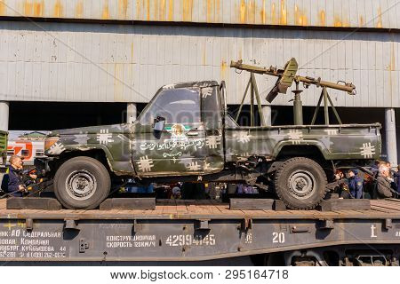 Perm, Russia - April 10, 1019: Improvised Gun Truck Of Isis Militants Seized As A Trophy By The Russ