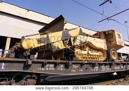 Perm, Russia - April 10, 1019: Self-propelled Mine Flail Of Isis Militants, Seized As A Trophy By Th