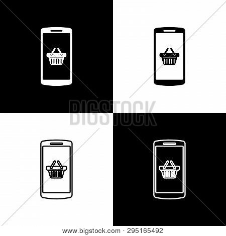 Set Shopping Basket On Screen Smartphone Icons Isolated On Black And White Background. Concept E-com