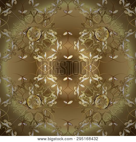 Classic Vector Golden Seamless Pattern. Floral Ornament Brocade Textile Pattern, Glass, Metal With F