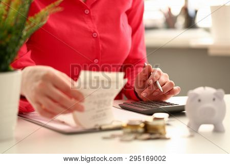 Female Hand Financial Inspector Push Key Butoon On Gray Calculator. Makes Calculation Costs Turning