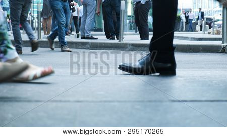View Of Human Feet People Walking On Crowded Street Movement Of Life People Variety Pedestrian Activ