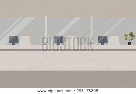 Bank Office Interior:bank Barrier With Glass.elegant Interior Financial Institution. Hall With Bank