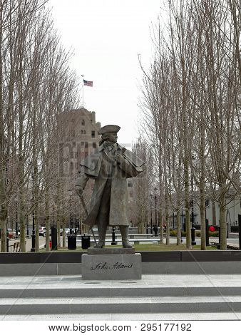 Quincy, Massachusetts, April 5, 2019: President John Adams Statue In Quincy Center Massachusetts