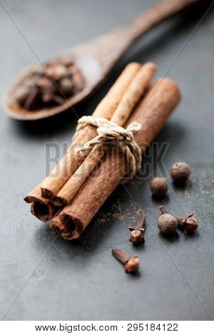 Cinnamon stick and cloves and all spice