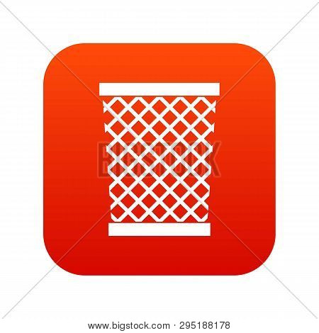 Wastepaper Basket Icon Digital Red For Any Design Isolated On White Illustration