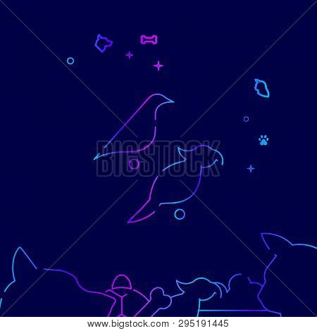Parrot And Canary Vector Line Illustration. Pet Gradient Icon, Symbol Or Pictogram, Sign. Dark Blue
