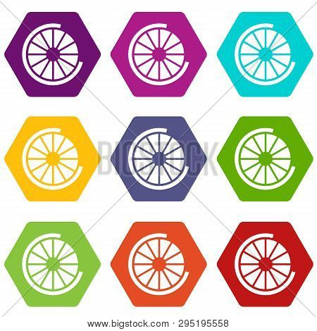 Sign incomplete download icon set many color hexahedron isolated on white illustration poster