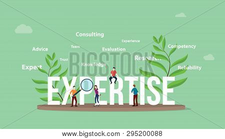 Expertise Concept With People Team And Big Text With Leaf And Text Related Spread Around - Vector Il