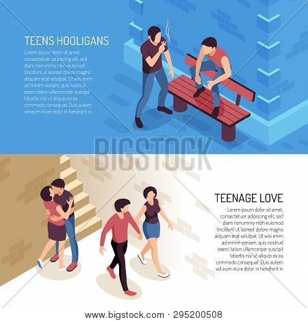 Isometric Teenager Banners With Human Characters Of Teenage People Hooligans And Couples In Love Wit