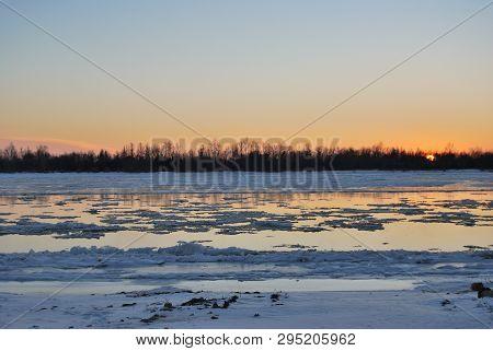 Starting Freeze On The Irtysh River, Omsk Region