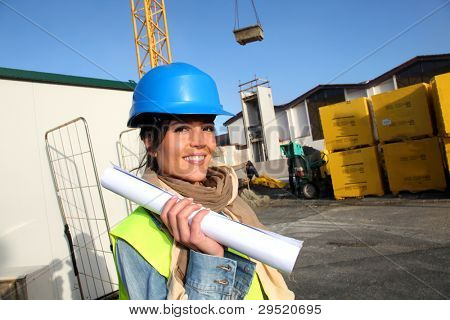 Portrait of smiling architect on building site