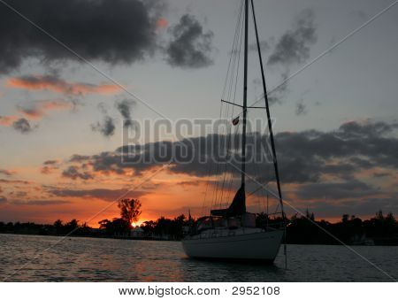 Sailboat Against A Sunset In Marsh Habor, Bs