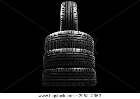 Car tire isolated on black background. Tire stack. Car tyre protector close up. Black rubber tire. Brand new car tires. Close up black tyre profile. Car tires in a row poster