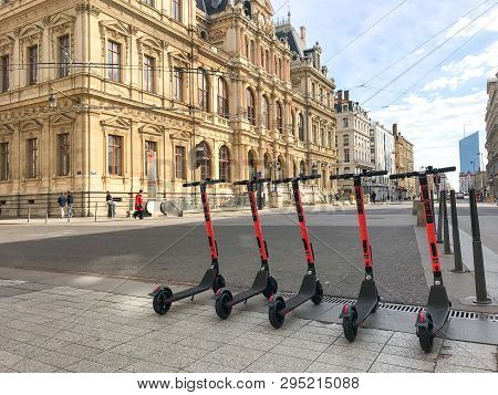 Lyon France, 17 March 2019: Voi Electric Scooter Of The Company Voi. Technology In The Street In Lyo